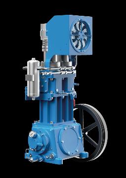 Compresor de pistón sin aceite y de funcionamiento en seco para comprimir gas de proceso