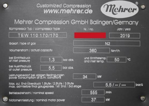 Nameplate of a Mehrer Compressor