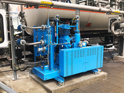 Carbon dioxide compressor installed in the application for compressing recovered CO2 from biogas production