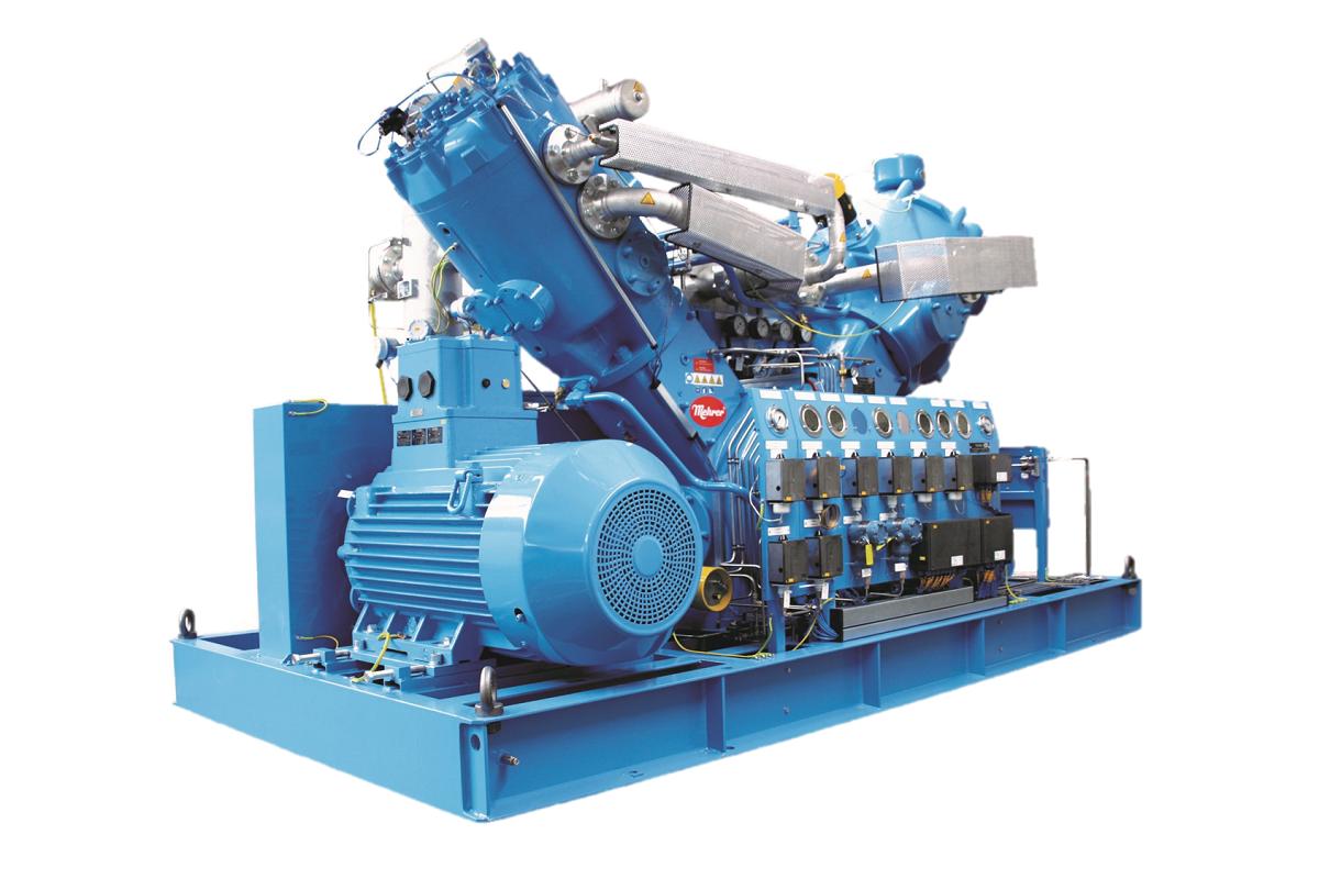 Водород компрессор на основную раму с приводным двигателем, охладителями, вакуум-фильтром, датчиками и трубами