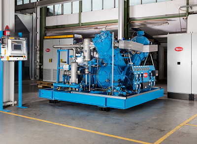 V-compressor unit set up in the factory hall