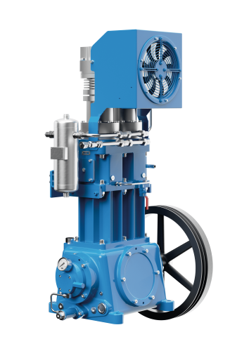 Compresor de pistón exento de aceite para comprimir gas de proceso